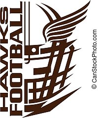 hawks football team design with helmet and wings for school,...