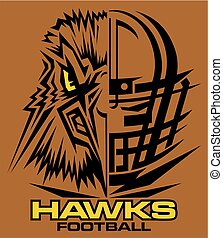 hawks football team design with mascot and facemask for...