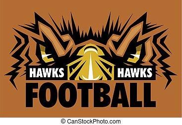 hawks football team design with mascot eye black for school...
