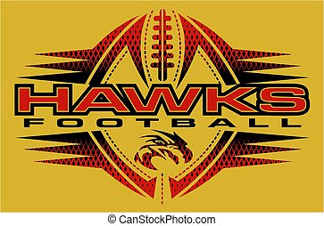 hawks football team design with mascot head for school,...