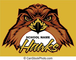 hawks team design with mascot face for school, college or ...