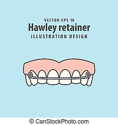 Hawley retainer illustration vector on blue background....