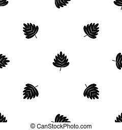 Hawthorn leaf pattern seamless black