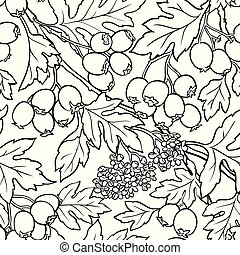 hawthorn seamless pattern - hawthorn branches seamless...