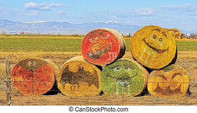 Hay Art - Hay bales with graffiti faces out in a field with...