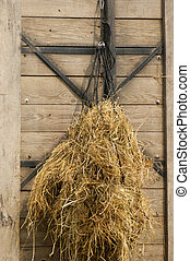 Hay as forage hung in a net