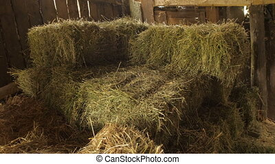 Hay bale in the shed - Dry baled hay stack, rural...
