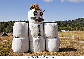 Hay Bale Snowman In Summer - A snowman made of hay bales, a...