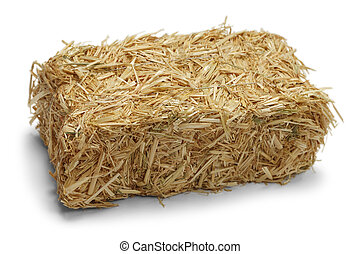 Hay Bale Isolated on White Background.
