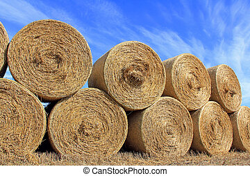 Hay Bales against Blue Sky