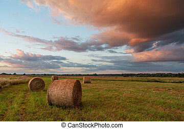 Hay bales in the field and colored clouds in the sky