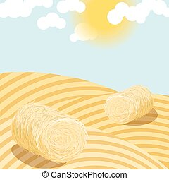 Hay bales on rural field sunny day illustration.