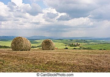Hay bales on rural landscape. Tuscany, Italy