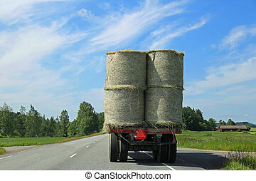 Hay Bales Transport on Trailer