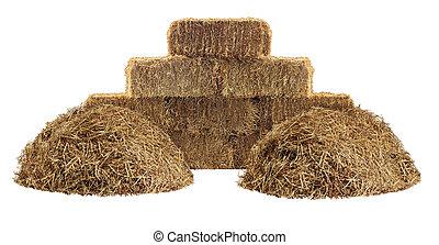 Hay Element - Hay pile and bundled tied haystack group...