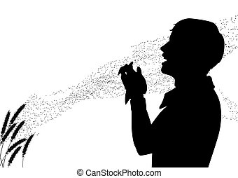 EPS8 editable vector silhouette of pollen drifting from grass flowers with a man suffering from hay fever sneezing