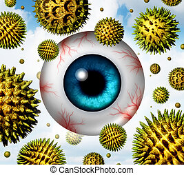Hay Fever - Hay fever and pollen allergy concept as a group...