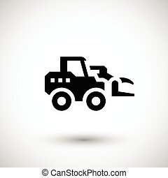 Hay loader tractor icon isolated on grey. Vector...