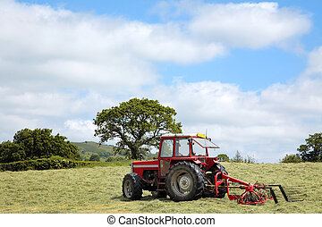 Hay Making Tractor - Red tractor with swather to the rear, (...