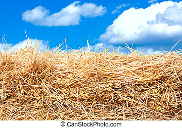 Hay stack detail. A close up of a haystack under the blue...