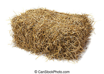 Hay - Studio shot of hay, isolated on white.