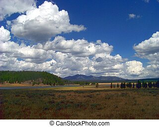 Hayden Valley and storm clouds in Yellowstone National Park