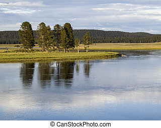 The Yellowstone River winds its way through the Hayden Valley in Yellowstone National Park, Wyoming.