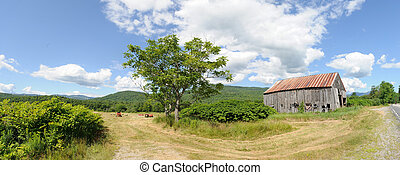 Hayfield, barn and mountain panoram - Hayfield and...
