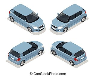 hayon, icon., transport, isométrique, élevé, voiture., ...
