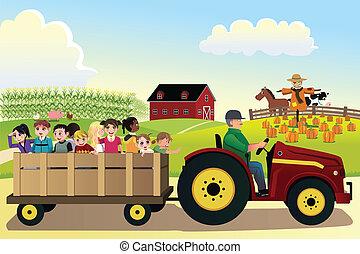 hayride, bambini, fattoria, campi, granaglie, andare, fondo
