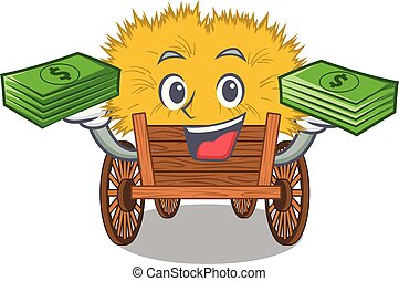 hayride, saco, gaveta dinheiro, brinquedo, caricatura