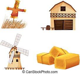 hays, espantapájaros, casas, granero
