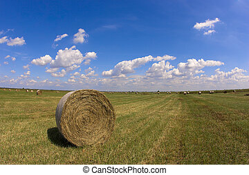 A haystack shot against a blue sky with clouds.