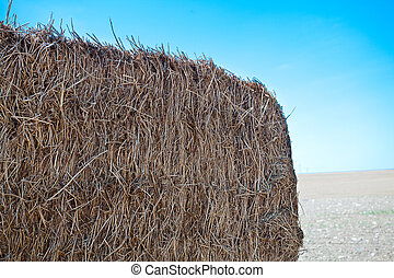 haystack against the blue sky