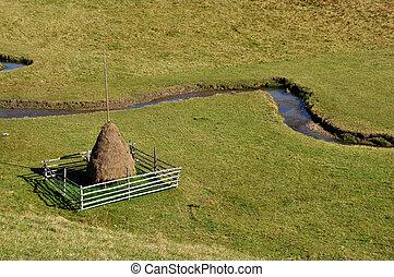 Haystack in a green meadow