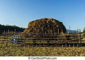 haystack in countryside