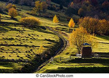 haystack near the path on hillside in autumn - haystack...
