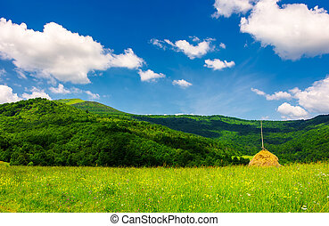 haystack on a grassy pasture in mountains. beautiful summer...