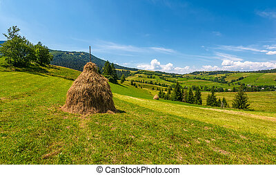 haystack on a grassy rural field in mountains. beautiful...