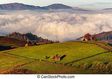 haystack on hillside above the clouds at sunrise. gorgeous...