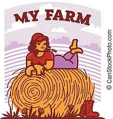 haystack., reposer, girl, champ, paysan