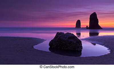 Haystack Rock at sunset Cannon Beach Oregon