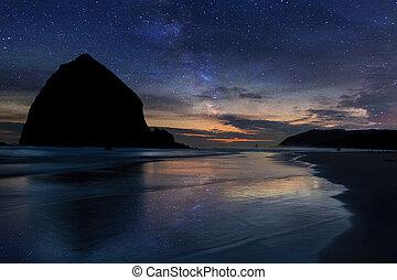 Haystack Rock under Starry Night Sky