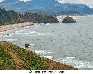 Haystack Rock Viewed from the Ecola State Park Overlook