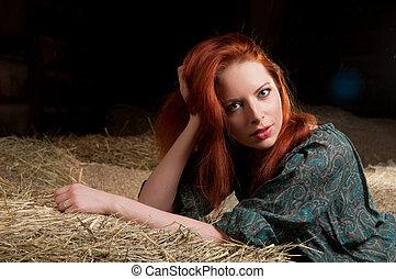 haystack, vrouw, het liggen