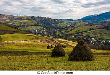 haystacks on grassy meadow in autumn mountains. village and...