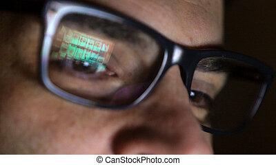 hazárdjáték, narkomániás, ember, előtt, online, kaszinó, horony gép