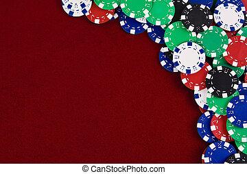 hazárdjátékot játszik kicsorbít, piros háttér
