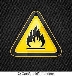 hazard, advare trekant, højt, brændbare, varsel underskriv