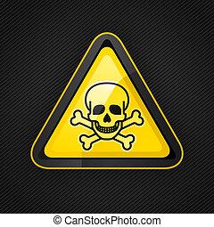 hazard, advare trekant, toksisk, tegn, på, en, metal,...